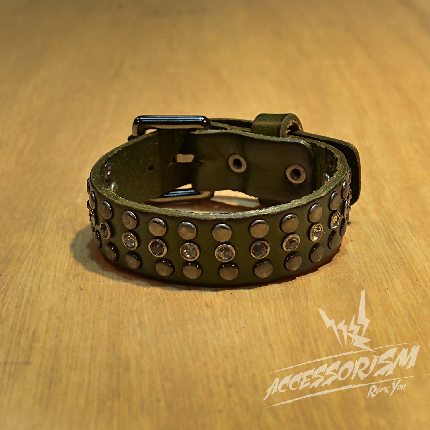 Free Shipping Multi Metal Circle Line with Middle Line Circle Shine Green Leather Bracelet (B650RG)