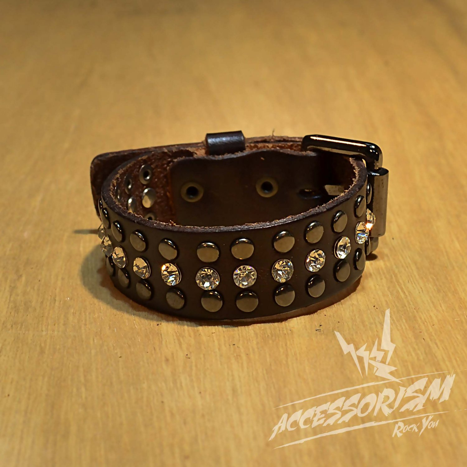 Free Shipping Multi Metal Circle Line with Middle Line Circle Shine Brown Leather Bracelet (B650RN)