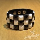 Free Shipping White & Black Square Black Leather Punk Bracelet Wristband (B652RW)