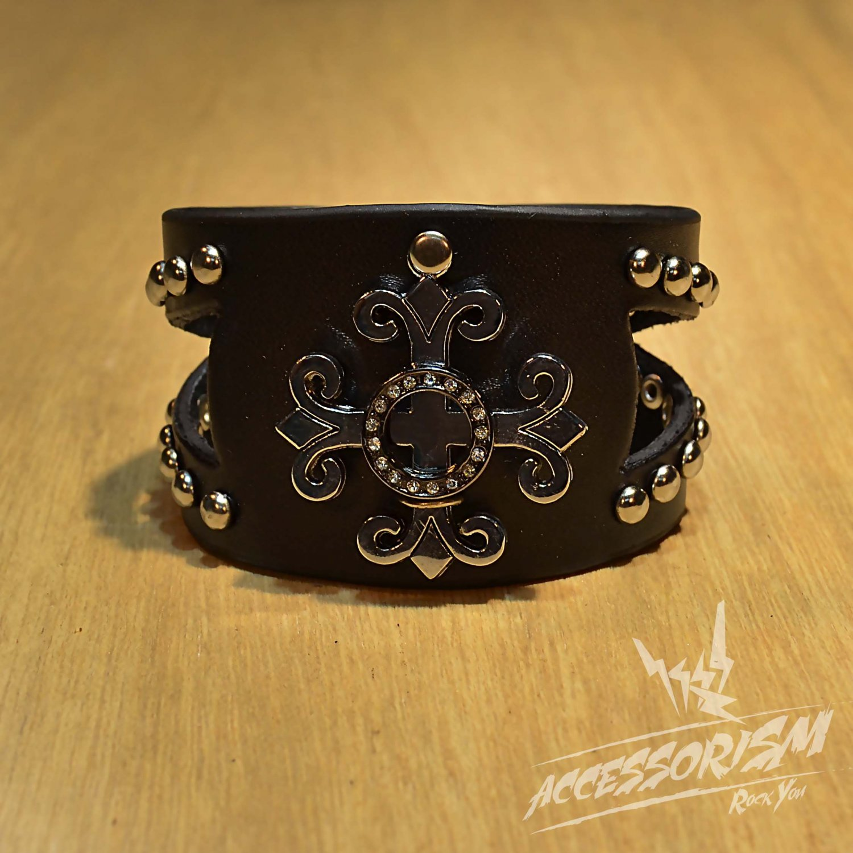 Free Shipping Gothic Metal Black Leather Cuff Wristband Bracelet Rock Punk (B653R)