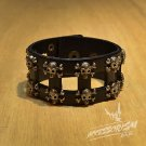 Free Shipping Multi Skull Black Leather bracelet (B657R)