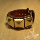 Free Shipping Multi Golden Square with Brown Leather Bracelet (B672RN)