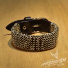 Free SHiping Steel & Blacke Leather Stud Wristband Cuff Bracelet (B674R)
