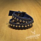 Free Shipping Multi Steel Circle Bracelet Stud Wristband Cuff (Blue) (B676RB)