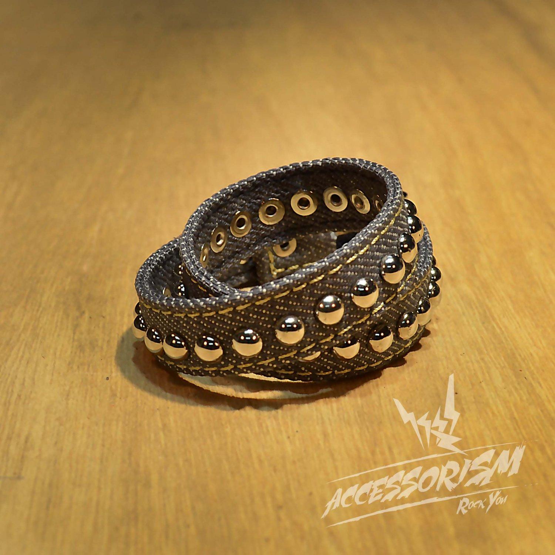 Free Shipping Multi Steel Circle Bracelet Stud Wristband Cuff (Grey) (B676RG)