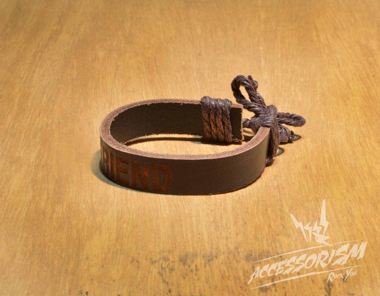 "Free Shipping Dark Brown ""Friend"" Leather Bracelet (B653S)"