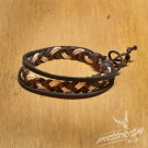 Free Shipping Brown & White String with Black Leather String Bracelet (B689S)