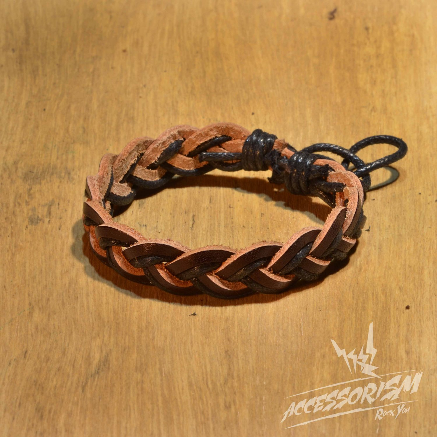 Free Shipping Black String with Dark Brown Leather String Bracelet (B692S)