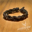 Free Shipping Dark Brown Leather with Black String Bracelet (B682S)