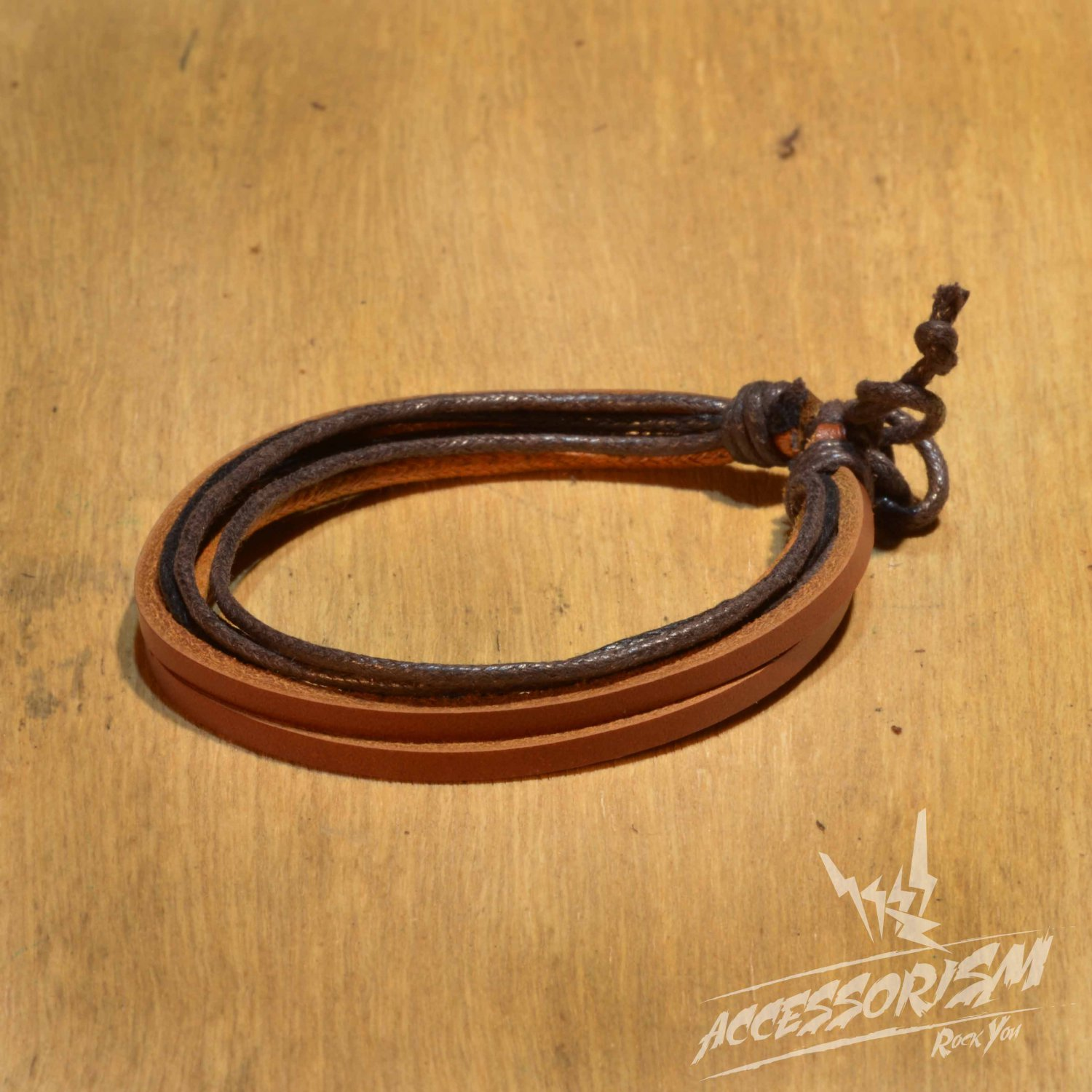Free Shipping Multi Black & Brown String with Brown Leather String Bracelet (B698S)