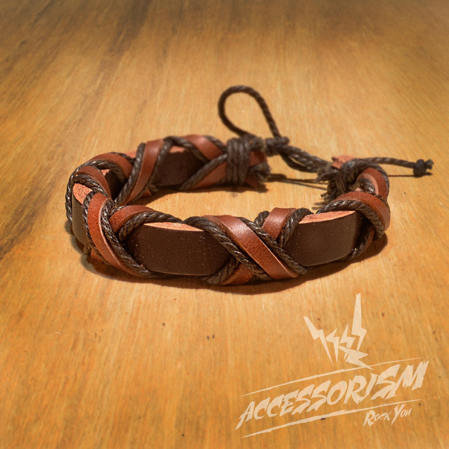 Free Shipping Dark Brown Leather with Brown Leather & String Cross Bracelet (B675S)