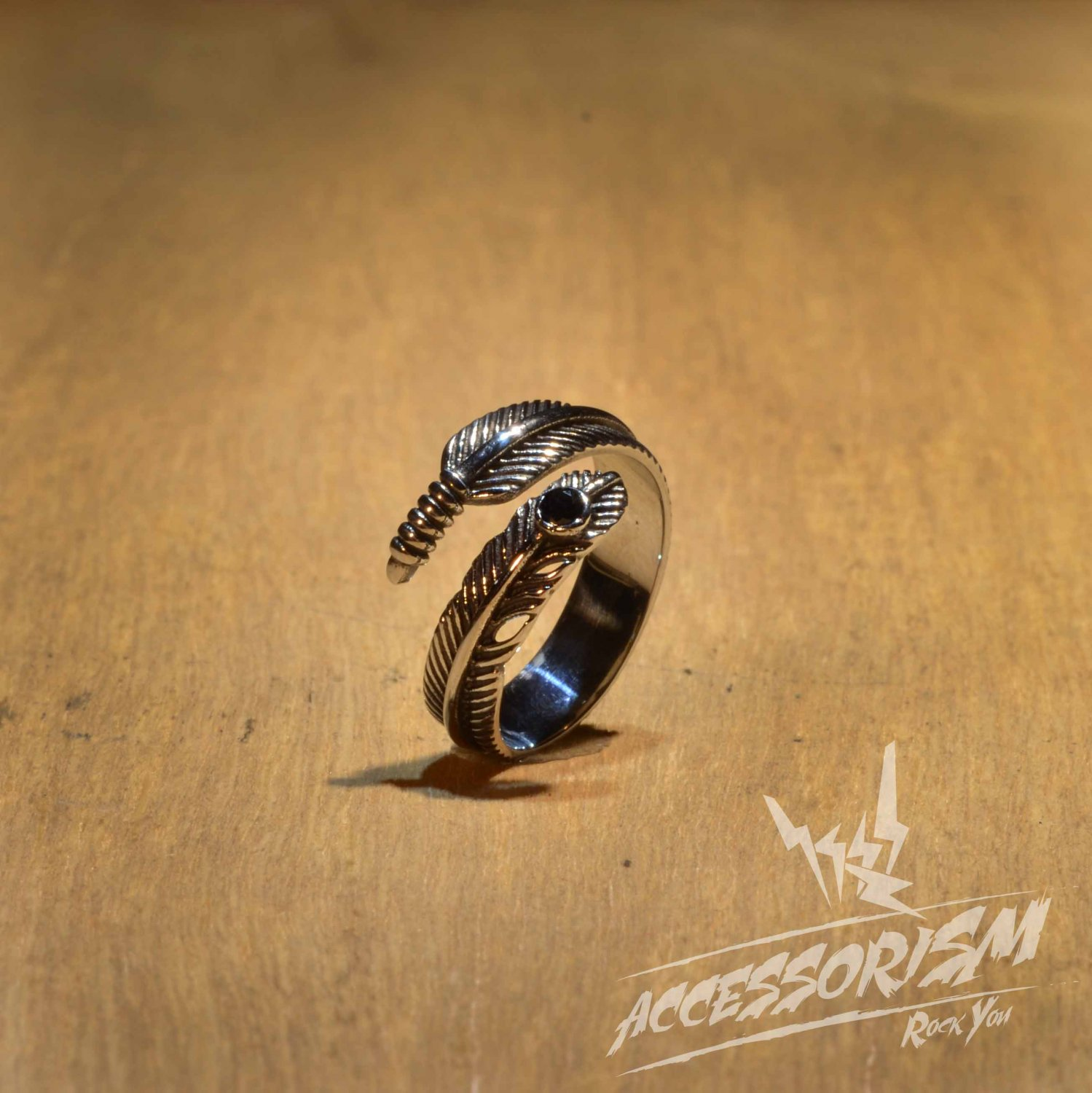 Free Shipping Steel Feather Ring (R620R)