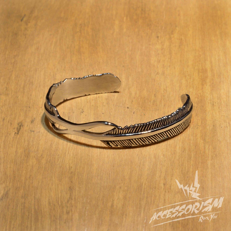 Free Shipping Steel Feather Bracelet (B677R)
