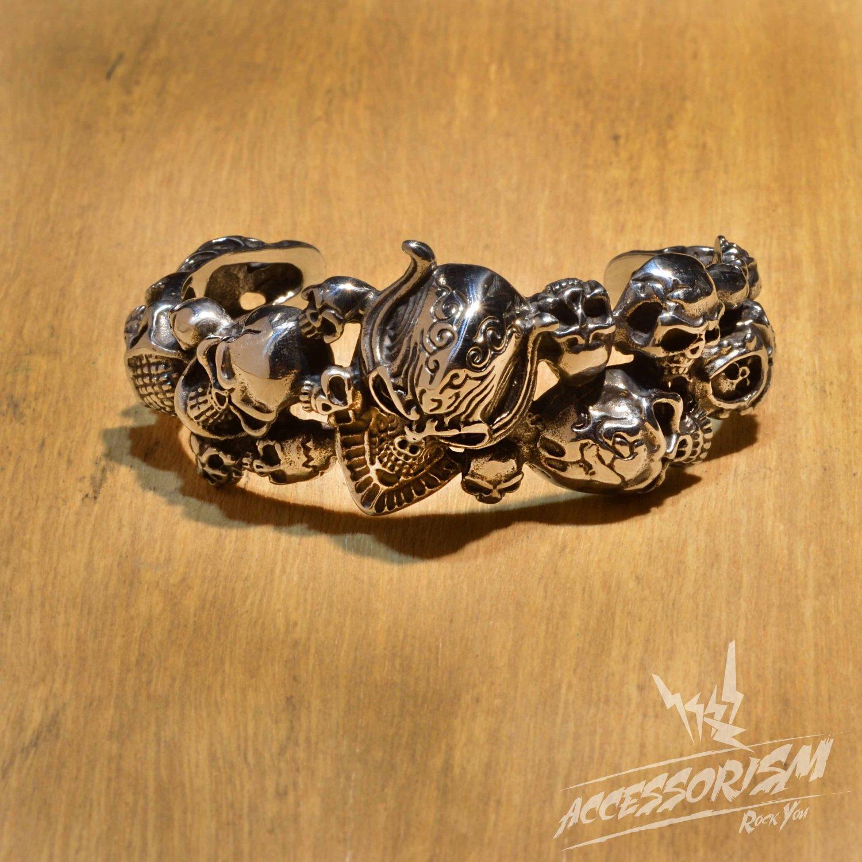 Free Shipping Steel Multi Skull Heads Bracelet (B678R)