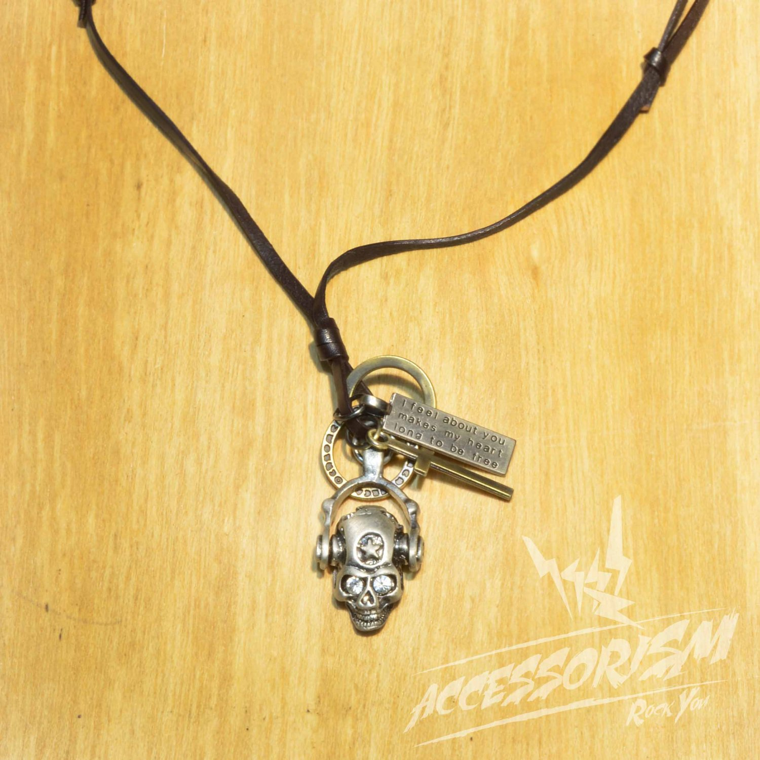 Free Shipping Skull Pendant with Cross and Circle Rings Necklace (N620SN)