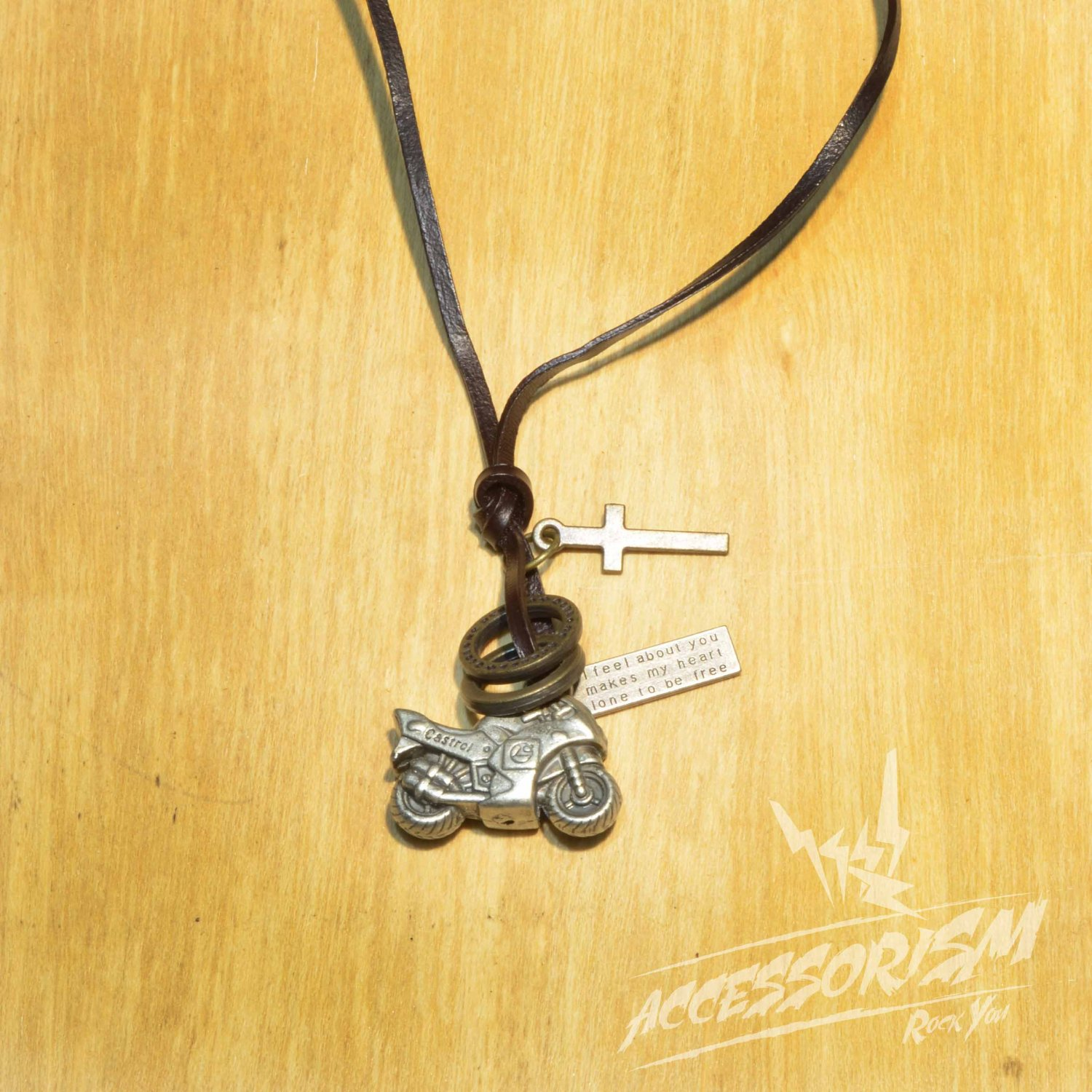 Free Shipping Motorcycle Pendant with Cross and Circle Rings Necklace (N649S)
