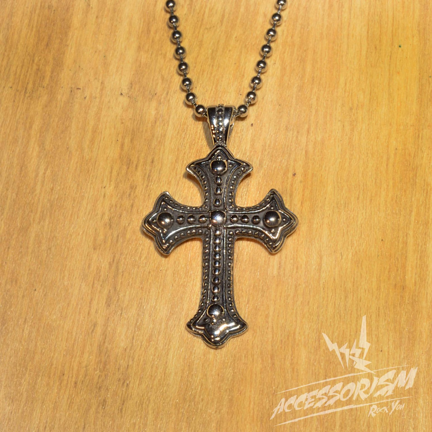 Free Shipping Steel Gothic Cross Pendant Necklace (N693S)