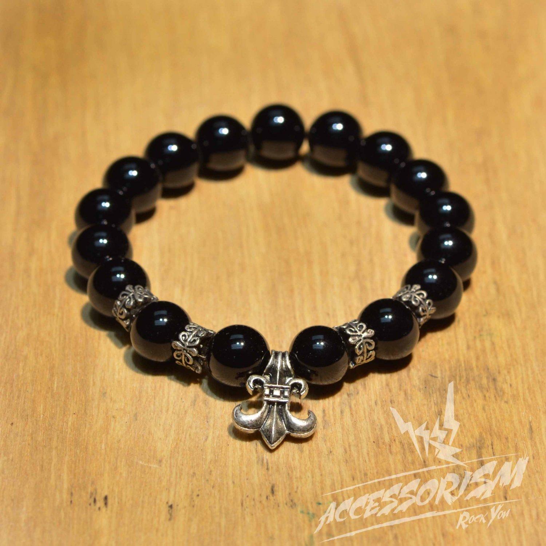Free Shipping Black Bead Bracelet with Artichoke Deco (B707S)
