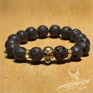 Free Shipping Dark Grey Stone with Gold Skull Deco (B712S)