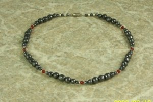 Magnetized Hematite and Carnelian Necklace