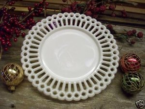 Canton Glass~GOTHIC EDGE~Opaque Milk White Plate