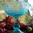 EAPG Open Compote~Wildflower Panels~Blue Flint Glass~