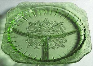 Set of 2 Green Jeannette Depression Glass~ADAM~Grill Plates