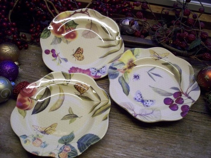 "Set of 3 SPODE China FRUIT HAVEN 6-1/2"" Canape Plates"