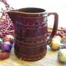 MARCREST Primitive Brown Daisy~Dot 24oz Pottery Pitcher