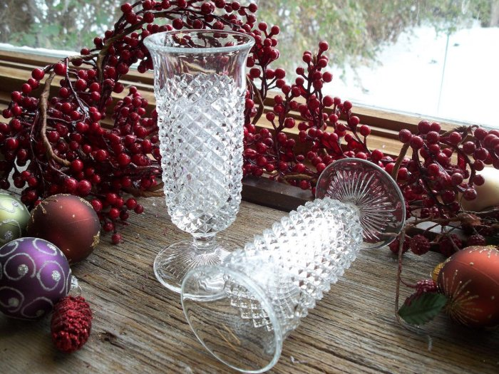 """Set of 5 English Hobnail Clear by Westmoreland Crystal 5-1/2"""" Parfaits"""