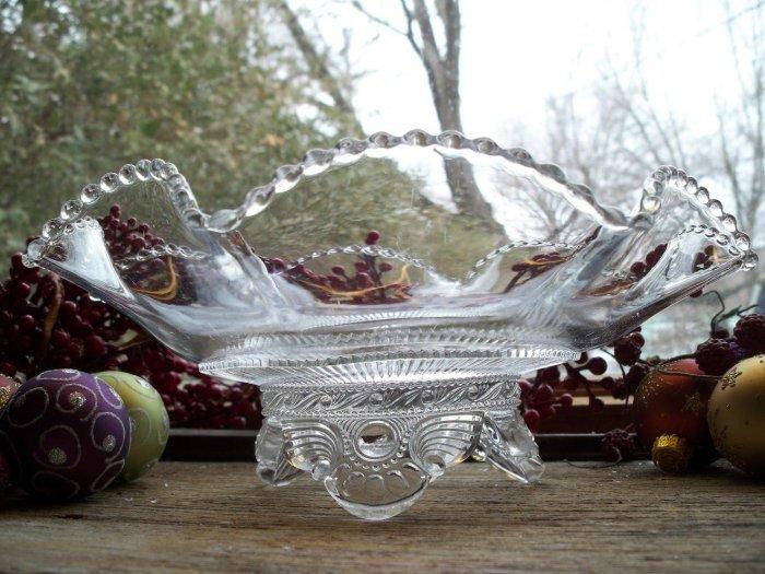 RARE U.S. Glass EAPG Clear COLORADO No. 15057 aka Lacy Jewel Ruffled Console Bowl c. 1897