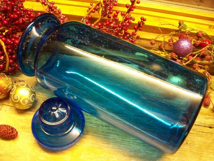 Peacock Blue Blown Depression Glass~Ground Daisy Top Lid~Apothecary Jar~stock #105