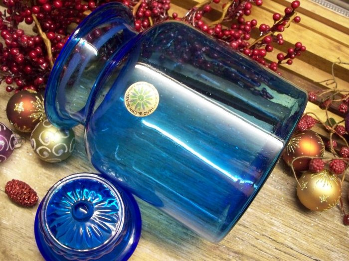 Peacock Blue Blown Depression Glass~Ground Daisy Top Lid~Apothecary Jar~stock #107