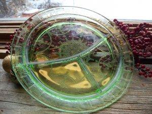 Hocking Depression Glass Green~CAMEO BALLERINA~Grill Plate