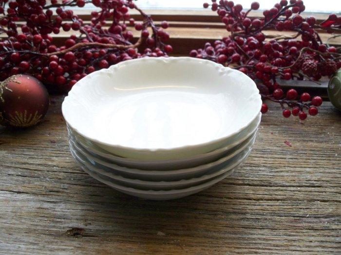 Set of 5 Haviland Limoges France White Blank Sauce Bowls