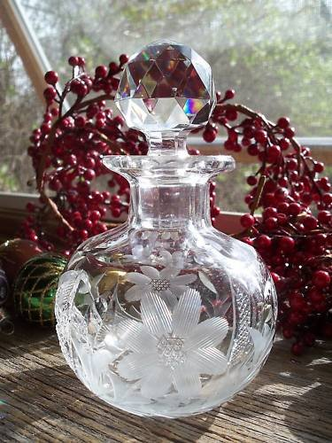 Antique ABP Cut Glass Cologne Bottle~Prism Stopper