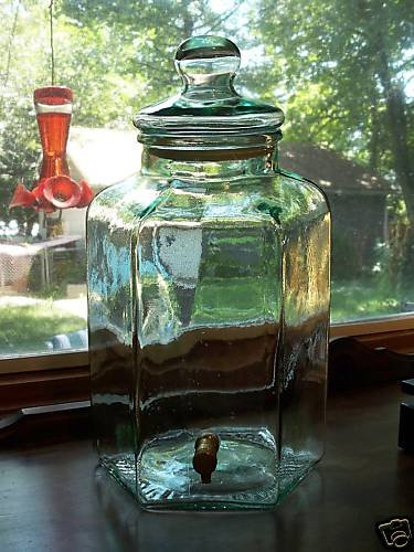 4 gal Italian Green Glass Counter Top Fruit Vodka~Sangria Dispenser