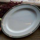 "Set of 6 Noritake ONEIDA Restaurantware Green Marble 11-5/8"" Oval Steak Plates"