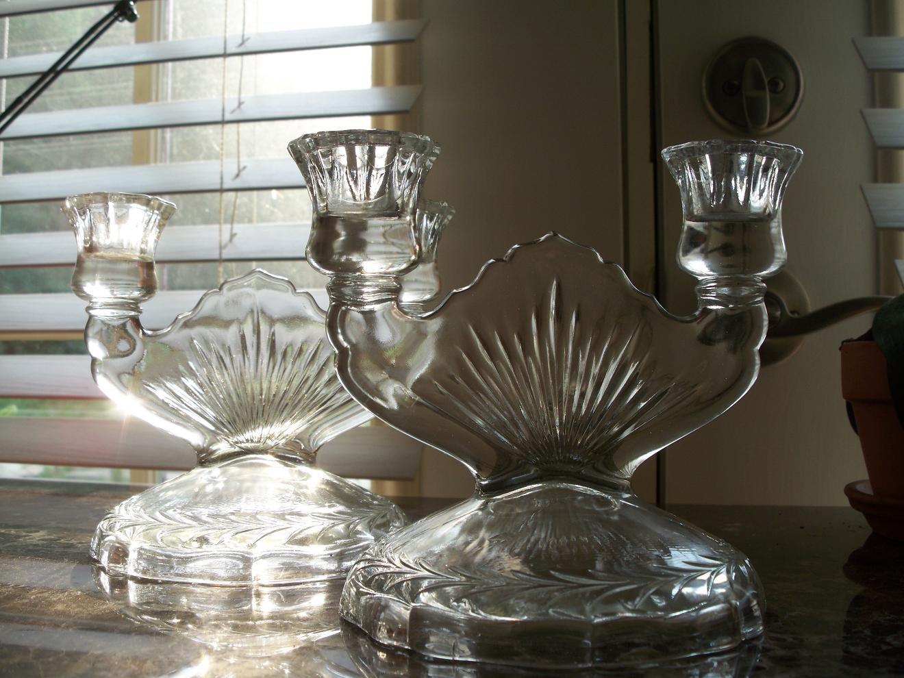 Jeannette Depression Glass Sunburst Herringbone Double Candlestick Set