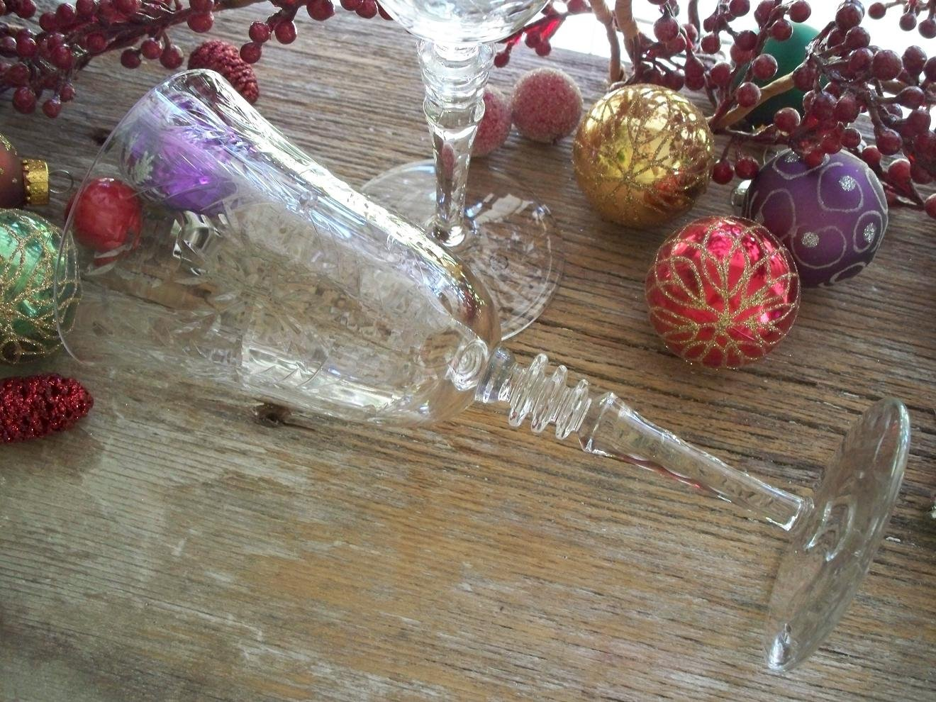 Set of 2 Libbey Rock Sharpe FERNWOOD Pattern #2010 Water Goblets