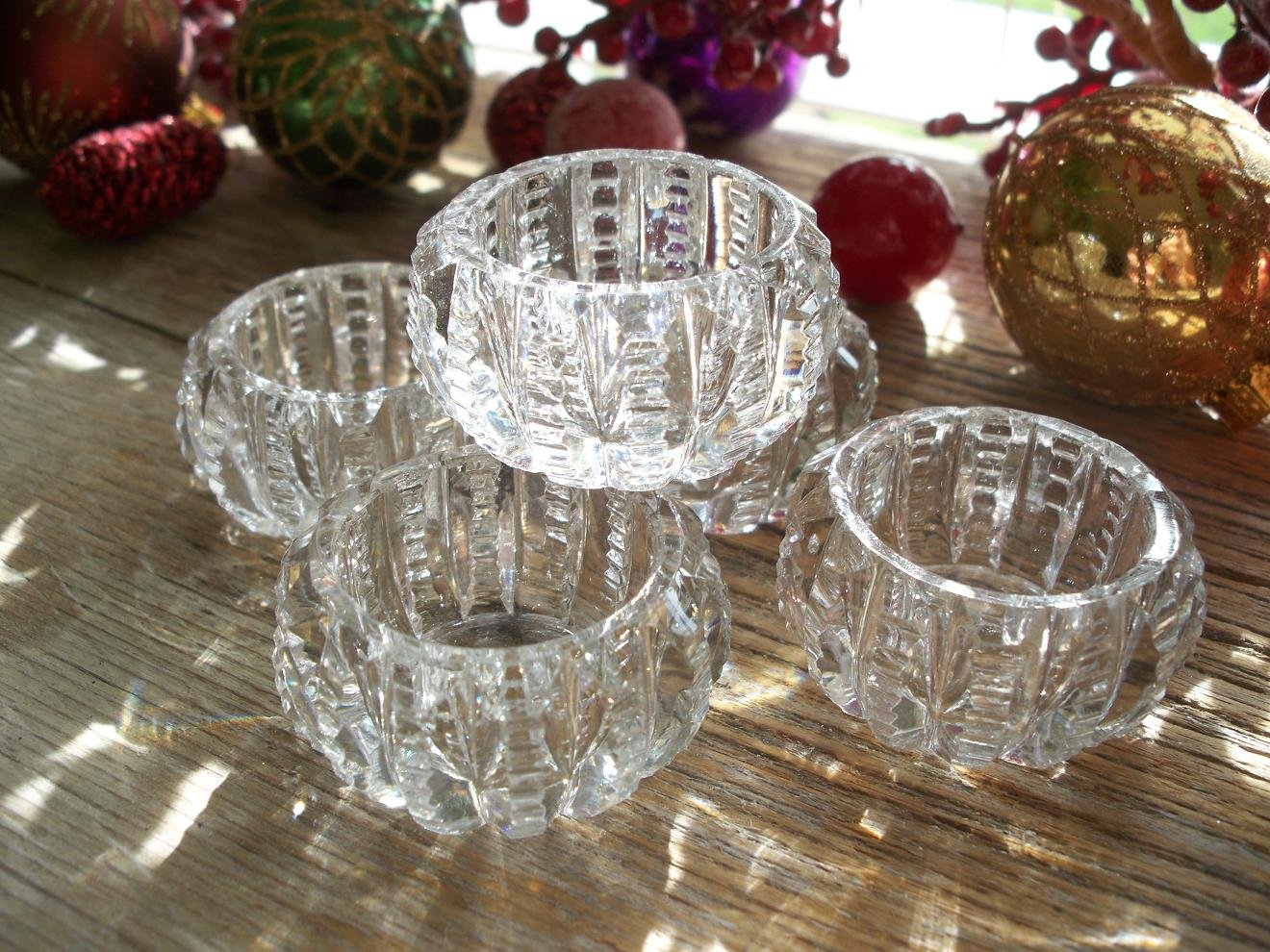 Set of 5 Pitkins & Brooks ABP American Brilliant PRISM Zipper Cut Glass Celery~Salt Dip/Dips