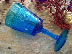 Fenton Crystal Cobalt Blue Colonial Flower Band Water Goblet