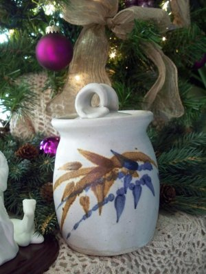 Signed Art Pottery Honey Pot with Lid
