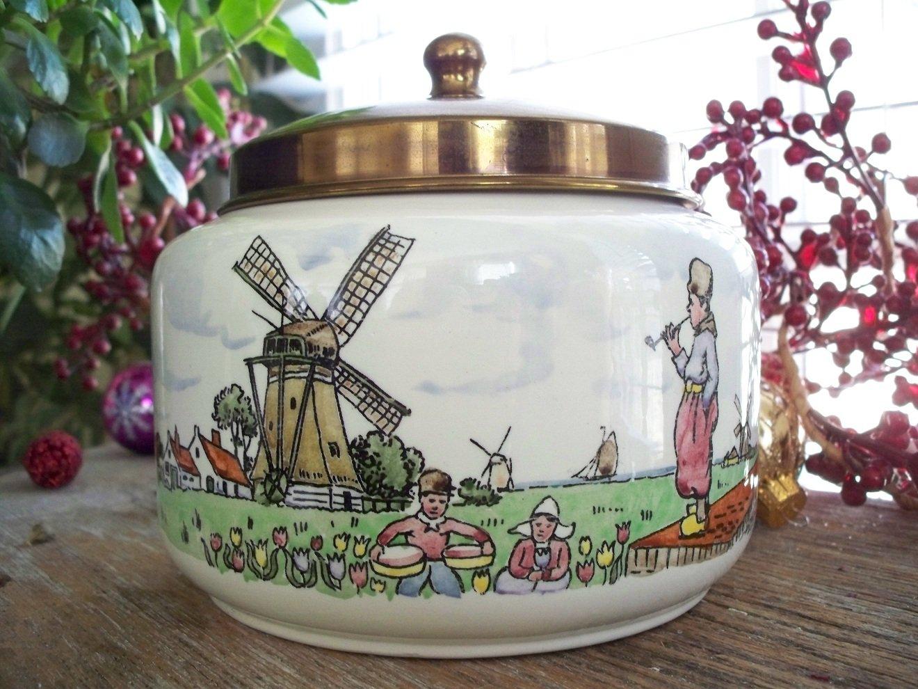 Vintage Royal Dutch Pottery GOEDEWAAGEN GOUDA-HOLLAND Tobacco Jar