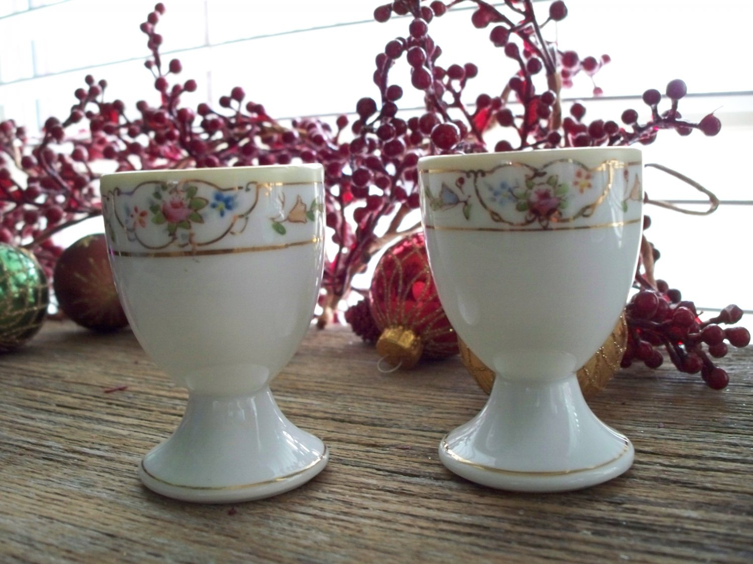 Set of 6 Handpainted Porcelain NIPPON Single Egg Cups
