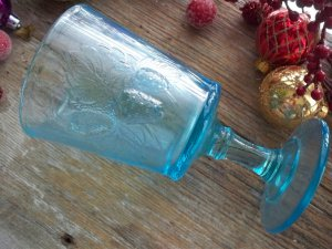 Strawberry & Current EAPG Pattern Glass Blue Water Goblet