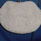 Vintage La Regales white beaded clutch purse small handbag formal evening purse Chain
