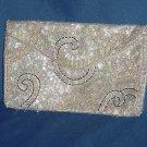 Sequin bead envelope clutch purse Ivory white grey La Regale Japan of American Sequins  116