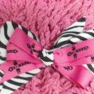 Pink w/ Blk Crosses & Zebra Print Hair Bow!!!
