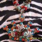 Red & Teal Multi Chip Crown Necklace!!!!!! Z2-17